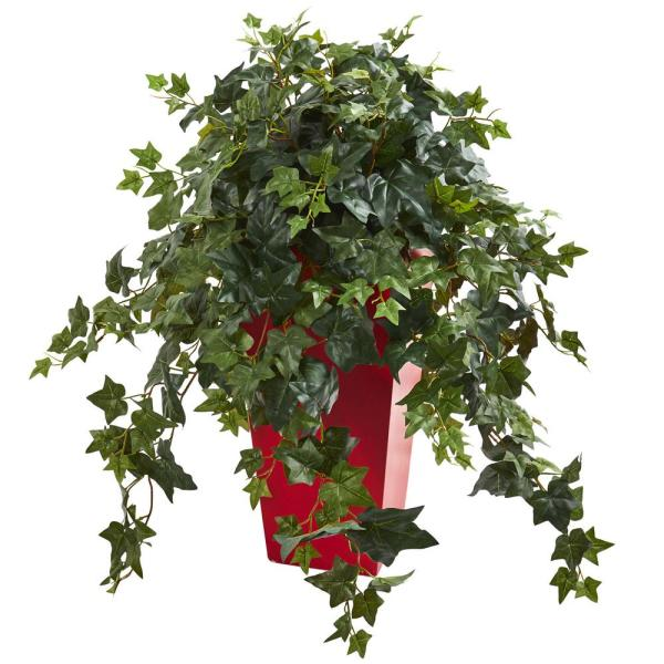 Nearly Natural Indoor Ivy Artificial Plant in Red Planter