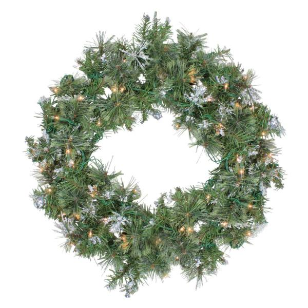 30 in. Pre-Lit Snow Mountain Pine Artificial Christmas Wreath with Clear Lights