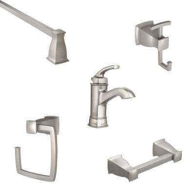 Hensley Single Hole Single-Handle Bathroom Faucet with 4-Piece Bath Hardware Set in Spot Resist Brushed Nickel