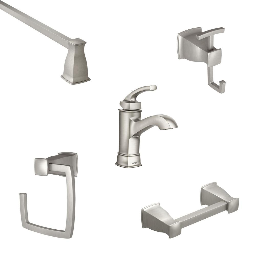 MOEN Hensley Single Hole Single-Handle Bathroom Faucet with 4-Piece Bath Hardware Set in Spot Resist Brushed Nickel