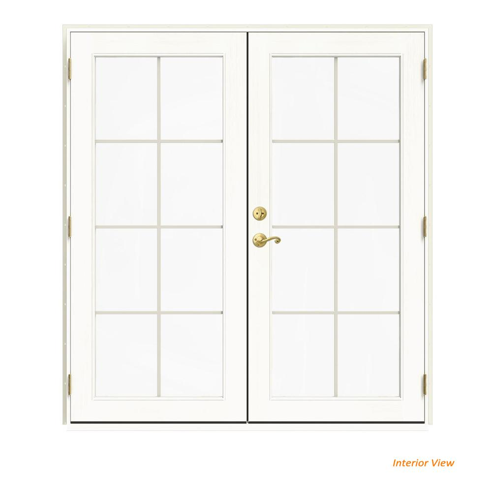 W 2500 Vanilla Clad Wood Left Hand 8 Lite French Patio Door White Paint Interior