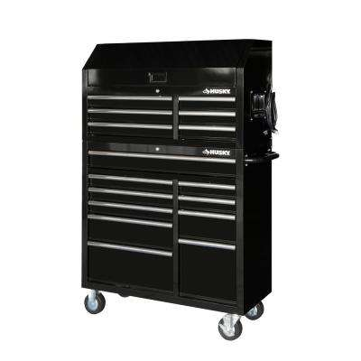 41 in. x 24.5 in D 16-Drawer Gloss Black Tool Chest and Cabinet Combo