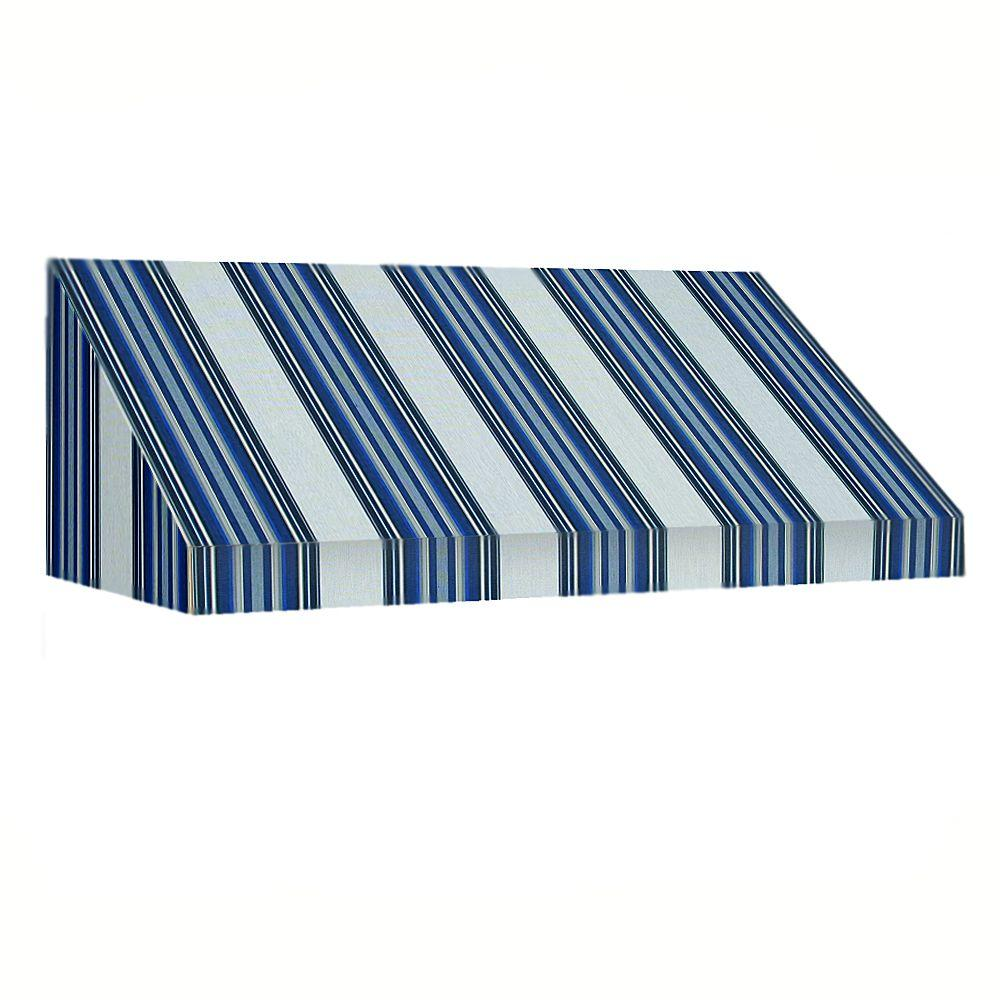 AWNTECH 14 ft. New Yorker Window/Entry Awning (24 in. H x 36 in. D) in Navy/Gray/White Stripe