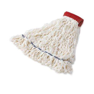 Medium Clean Room White Mop with Red Head Band