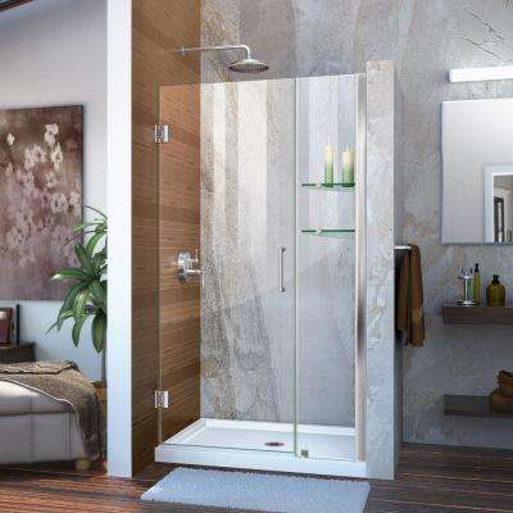 Unidoor 45 in. to 46 in. x 72 in. Frameless Hinged Pivot Shower Door in Chrome with Handle