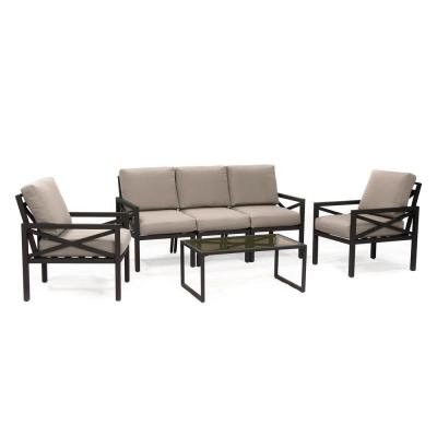 Blakely 6-Piece Aluminum Seating Set with Tan Cushions