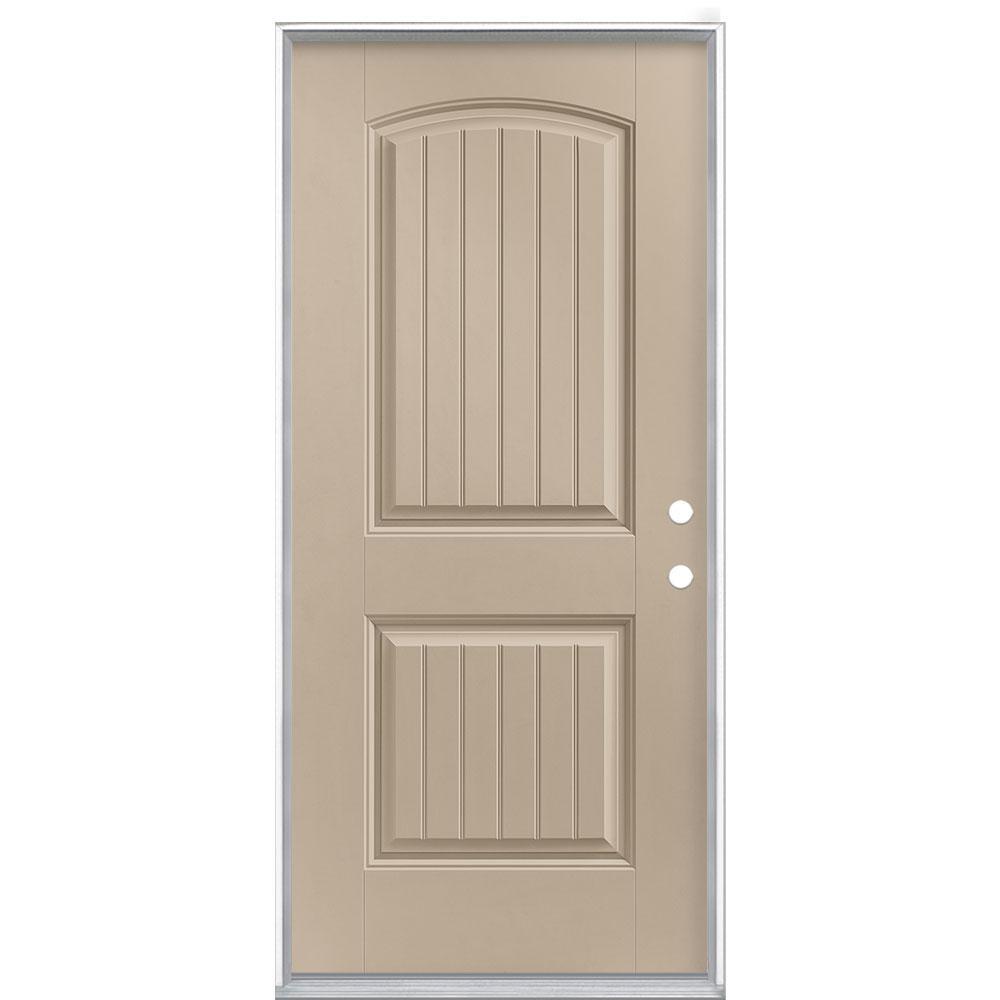 36 in. x 80 in. Cheyenne 2-Panel Left Hand Inswing Painted Smooth Fiberglass Prehung Front Exterior Door No Brickmold