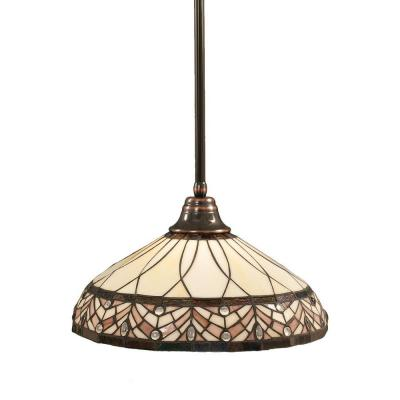 Atwood 1-Light Black Copper Pendant with Royal Merlot Tiffany Glass