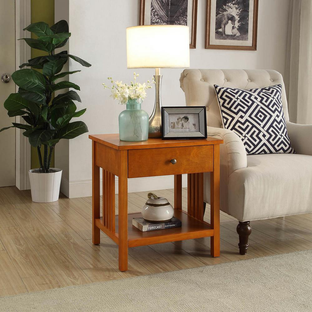Mission Oak Side Table-SK19211B-MO - The Home Depot