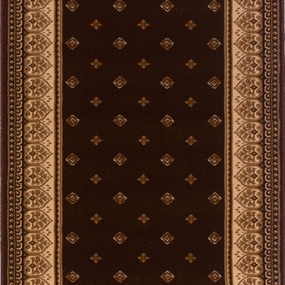 Natco Sapphire Fleur De Lis Chocolate 26 in. x Your Choice Length Roll Runner