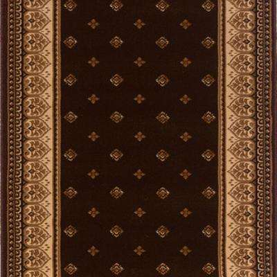 Sapphire Fleur De Lis Chocolate 26 in. x Your Choice Length Stair Runner