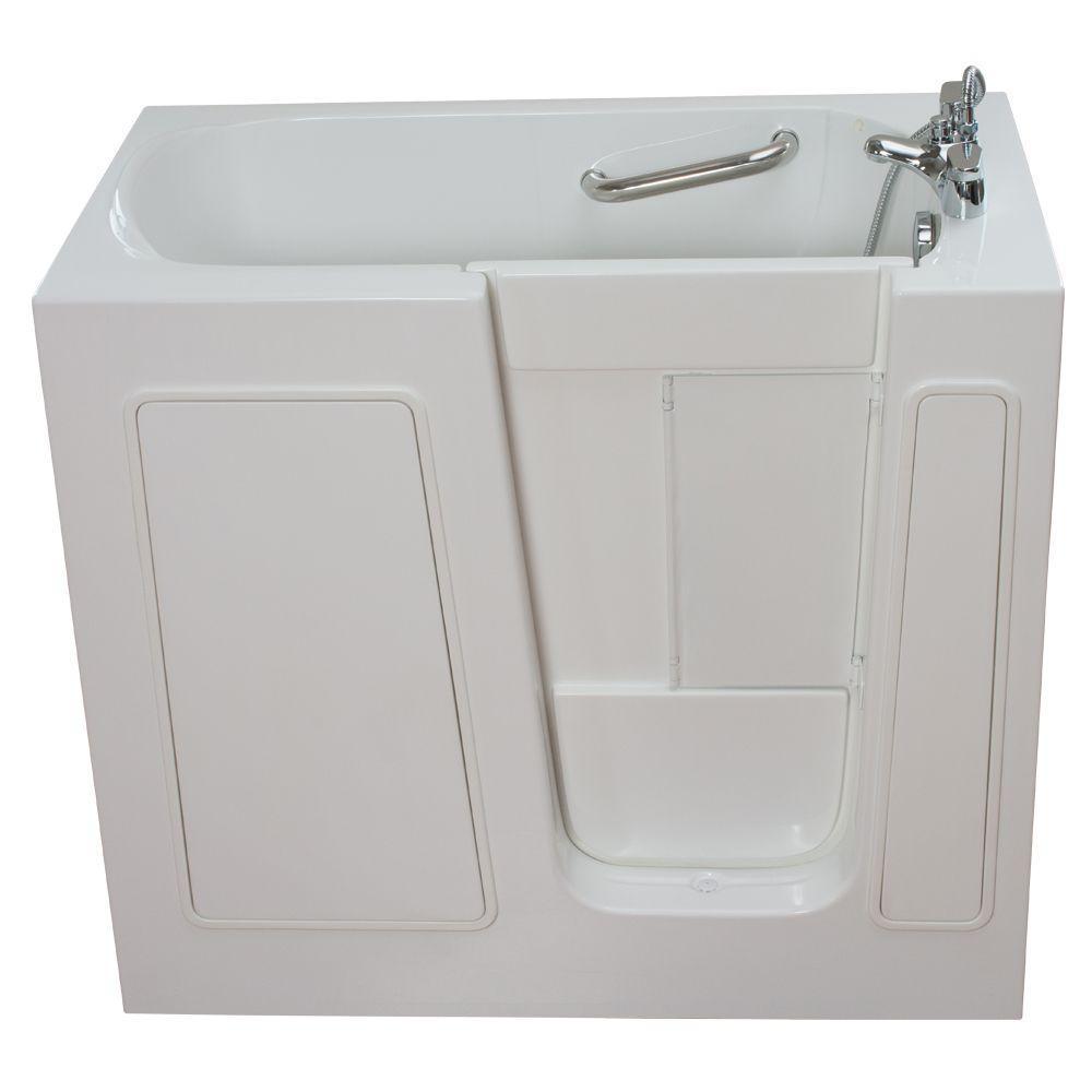 Ella Small 3.75 ft. x 26 in. Walk-In Air Massage Bathtub in White with Right Drain/Door
