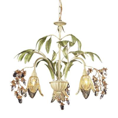 Huarco 3-Light Seashell And Green Large Chandelier With Amber Glass Flower Shades
