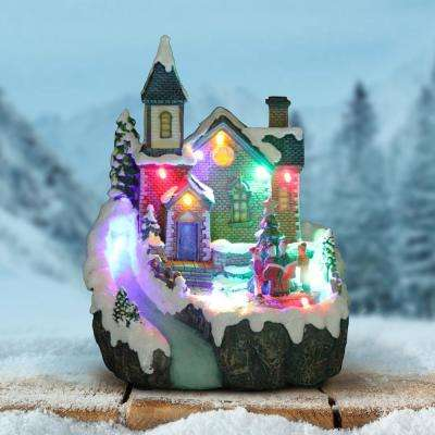 8 in. Battery Powered Christmas Church with Revolving Choir with Timer