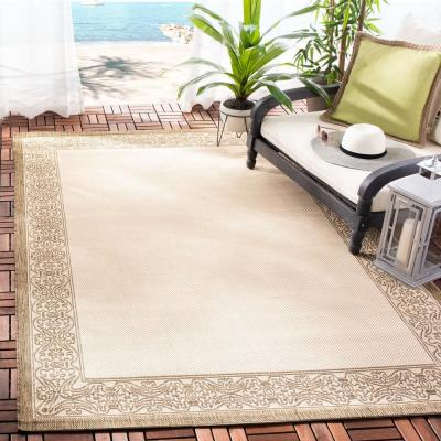 Courtyard Natural/Brown 8 ft. x 8 ft. Indoor/Outdoor Square Area Rug