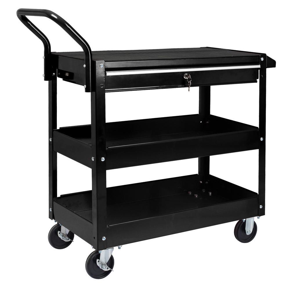 37 in. 1-Drawer Heavy-Duty Utility Cart in Black
