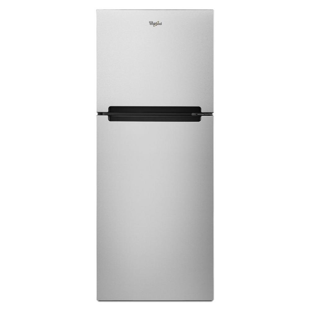 whirlpool refrigerator top freezer. whirlpool 10.7 cu. ft. top freezer refrigerator in monochromatic stainless steel 8