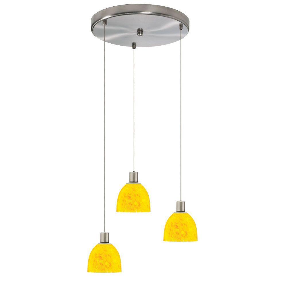 Radionic Hi Tech Industrial Chic 3-Light Satin Chrome Round Pendant with Yellow Petal Glass