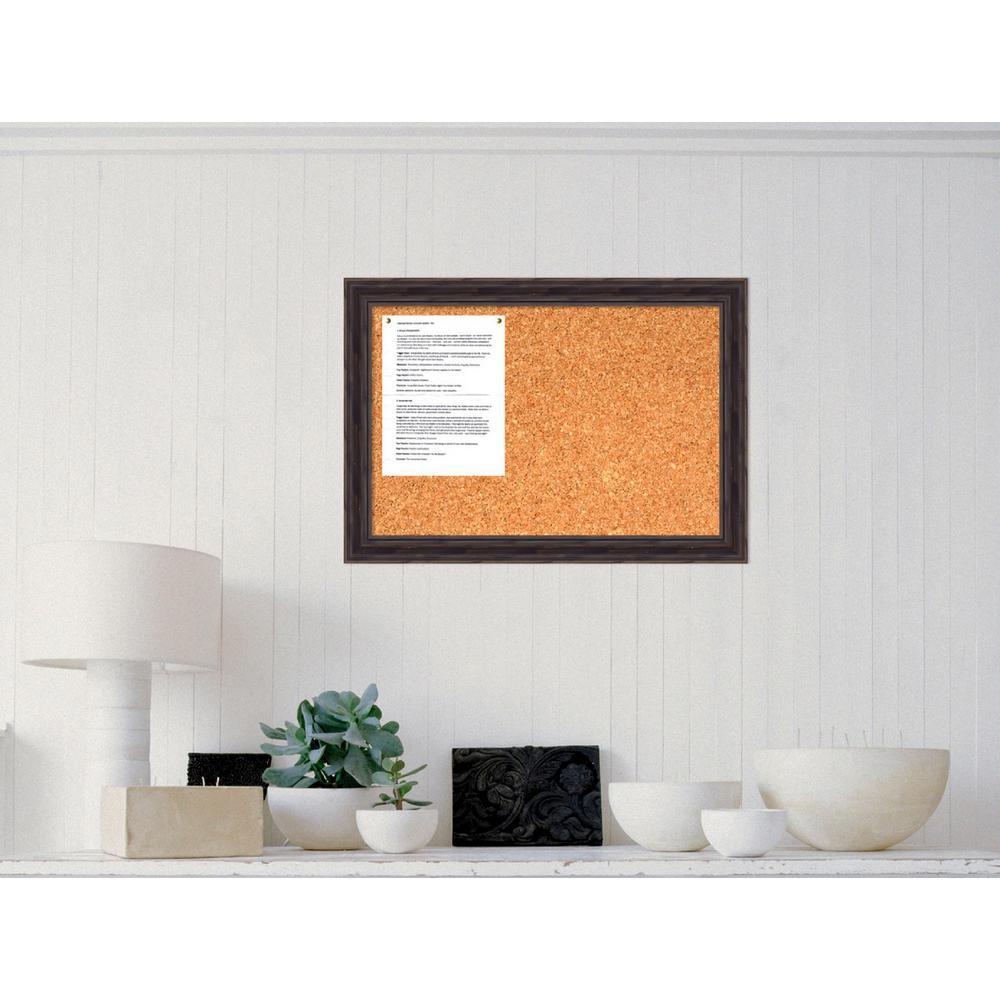 Rustic Pine Narrow Wood 19.38 in. H x 27.38 in. W Framed Cork Board