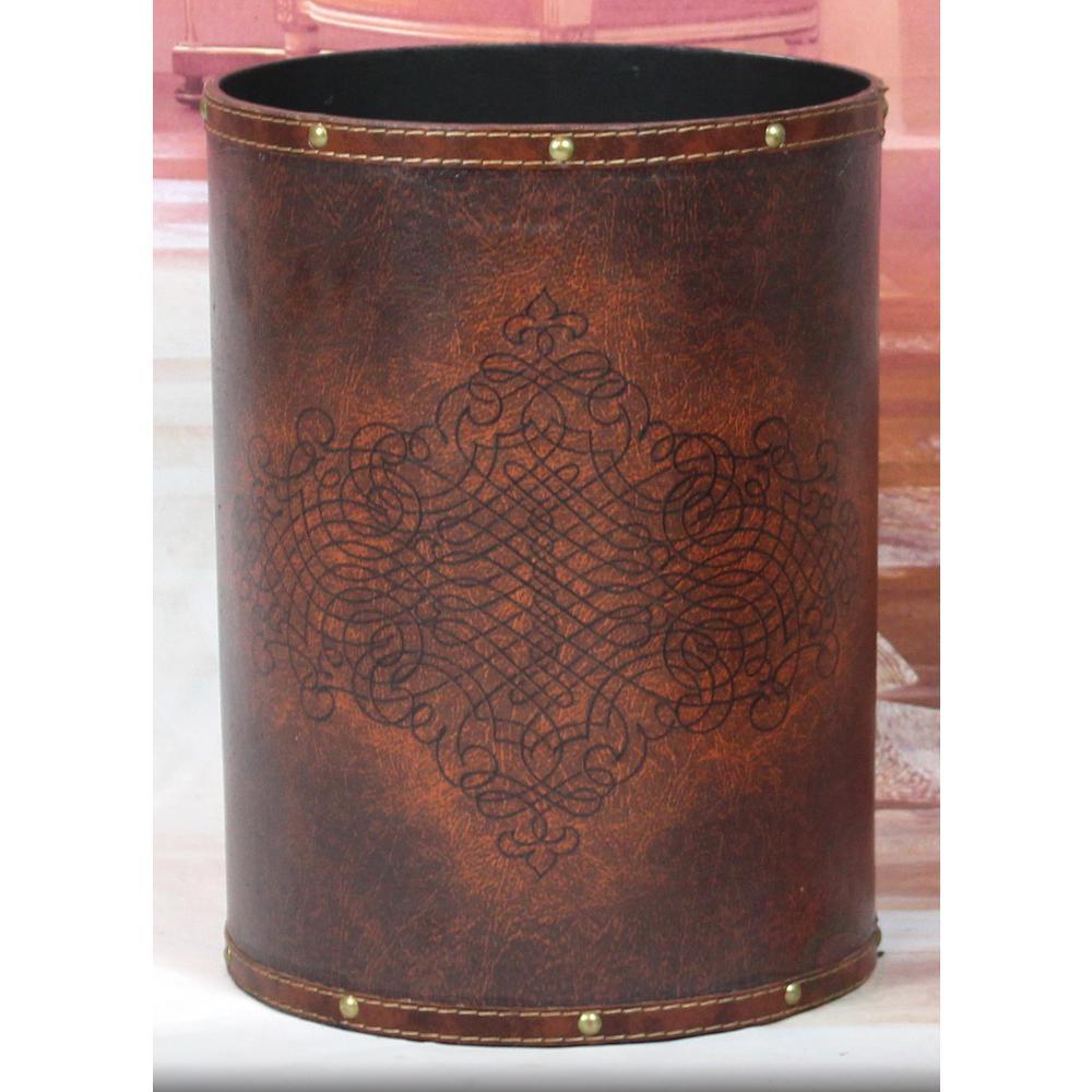 10 in. x 10 in. x 13 in. High Faux Leather Antique Design Waste Bin