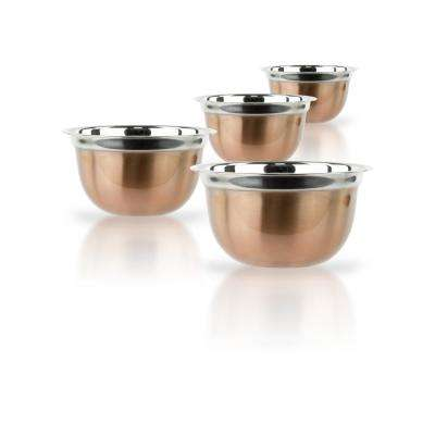 4-Piece Brushed Copper Mixing Bowl Set