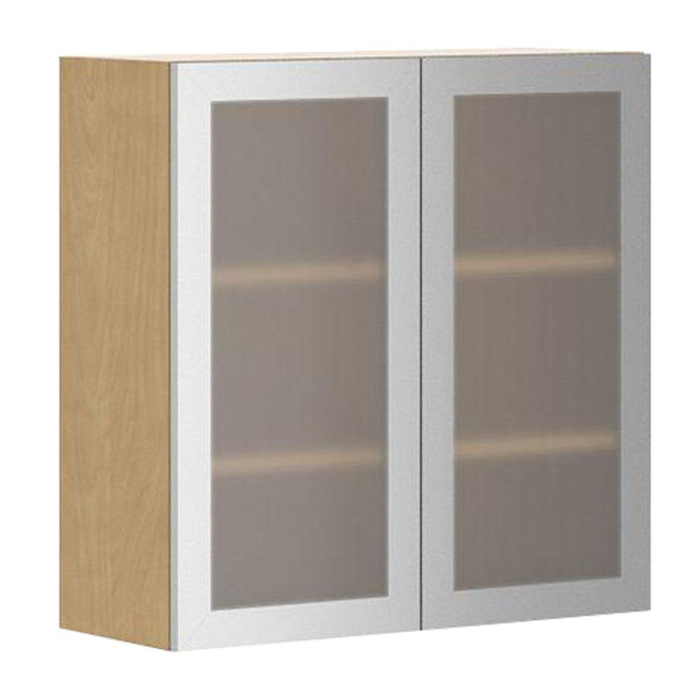Fabritec Ready To Assemble 30x30x12 5 In Birmingham Wall Cabinet In White Melamine And Glass