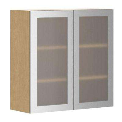 Copenhagen Wall Cabinet In Maple Melamine And Glass