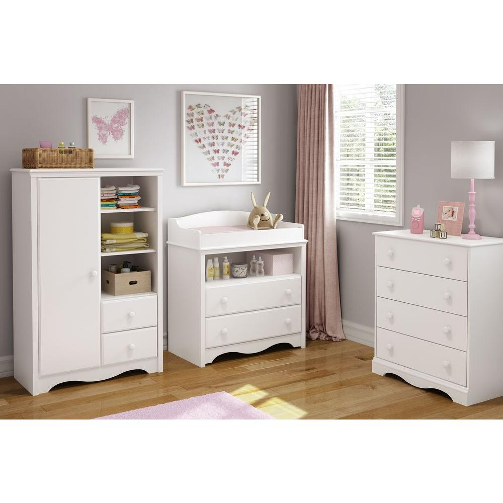 Marvelous South Shore Heavenly Pure White Armoire