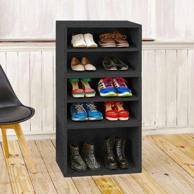 Blox System Pisa Eco zBoard Tool Free Assembly Stackable 5-Cubby Modular Bookcase Storage Shelf in Black Wood Grain