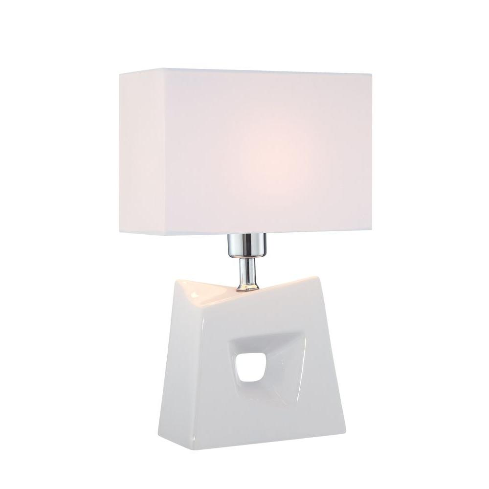 Illumine 1-Light 16 in. Table Lamp White Finish White Fabric Shade