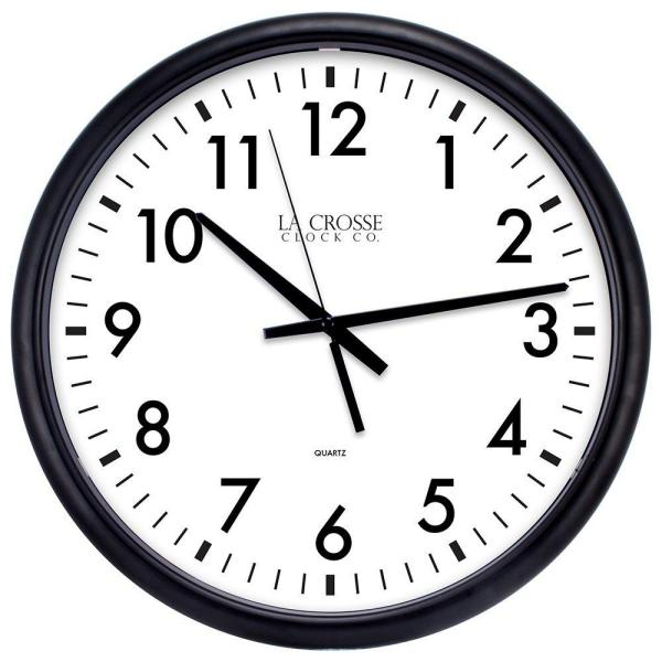 13.5 in. W x 13.5 in. H ThinLine Black Round Quartz Analog Wall Clock