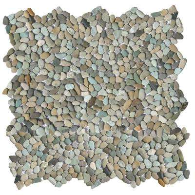 Micro Pebble Cayman Blue 12 in. x 12 in. x 6.35 mm Mesh-Mounted Mosaic Floor and Wall Tile (10 sq. ft. / case)