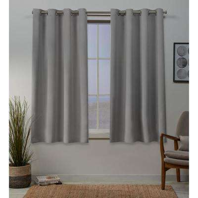 Sateen 52 in. W x 63 in. L Woven Blackout Grommet Top Curtain Panel in Veridian Grey (2 Panels)
