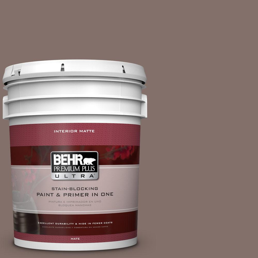 BEHR Premium Plus Ultra 5 gal. #740B-5 Bradford Brown Flat/Matte Interior Paint