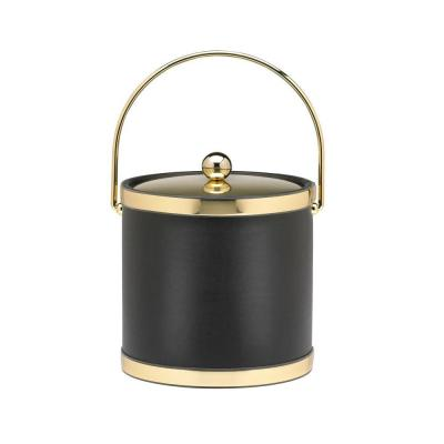 Sophisticates 3 Qt. Black w/Polished Brass Ice Bucket with Bale Handle, Metal Cover