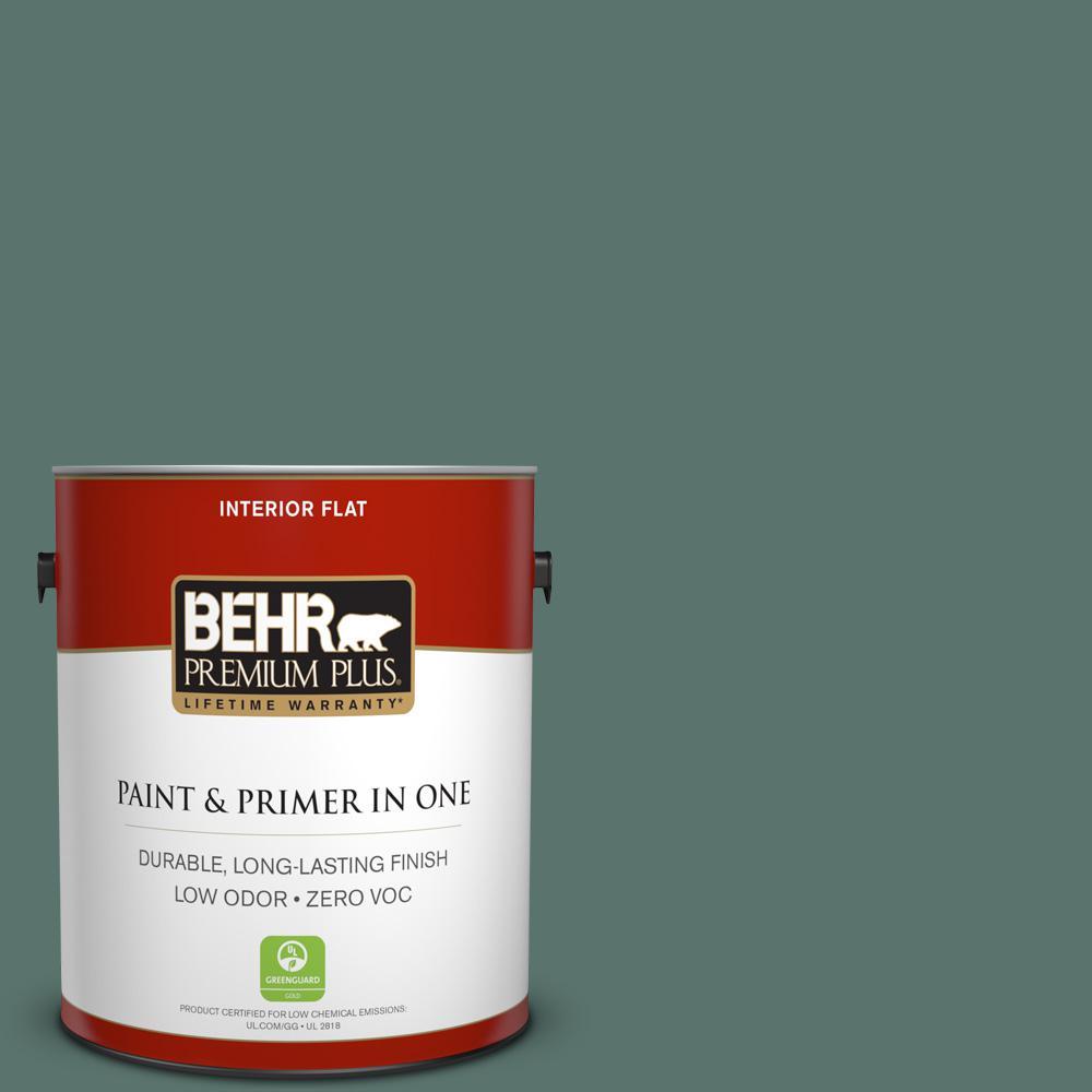 1 gal. #PPU12-17 Cameroon Green Zero VOC Flat Interior Paint