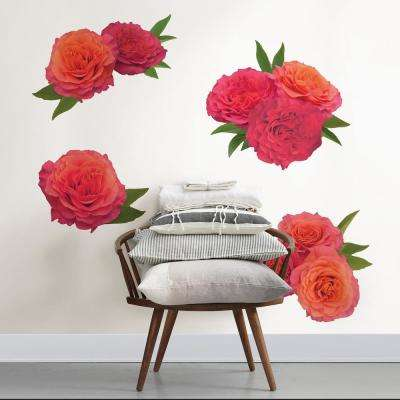 Red Sunset Rose Wall Decal