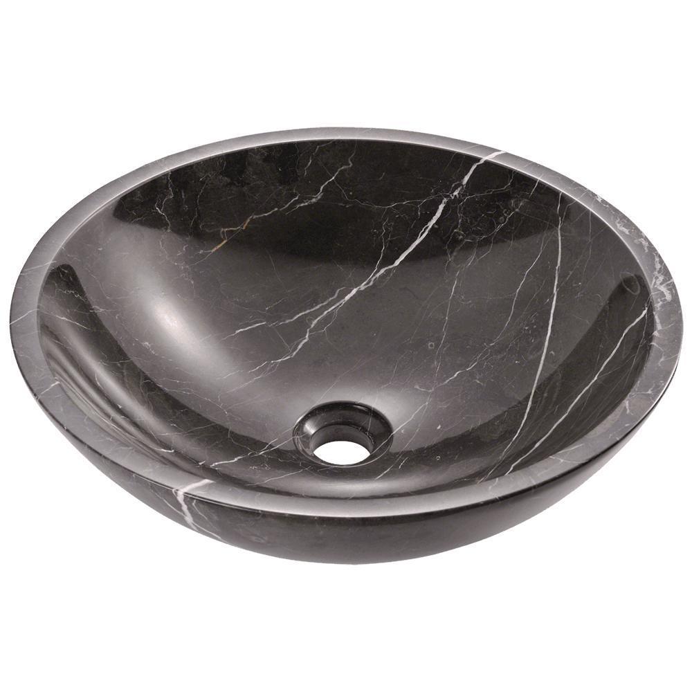 Stone Vessel Sink in Black Marble
