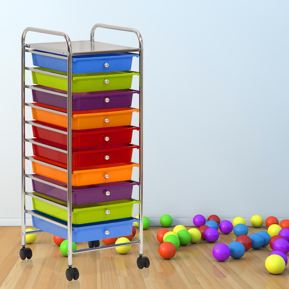 Wayar 10-Self Chrome 4-Wheeled 10-Drawer Trolley in Rainbow
