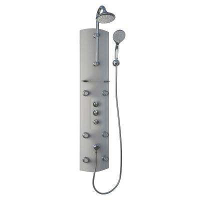 54.5 in. Hydrotherapy 6-Jet Shower Panel System in Satin (Valve Included)