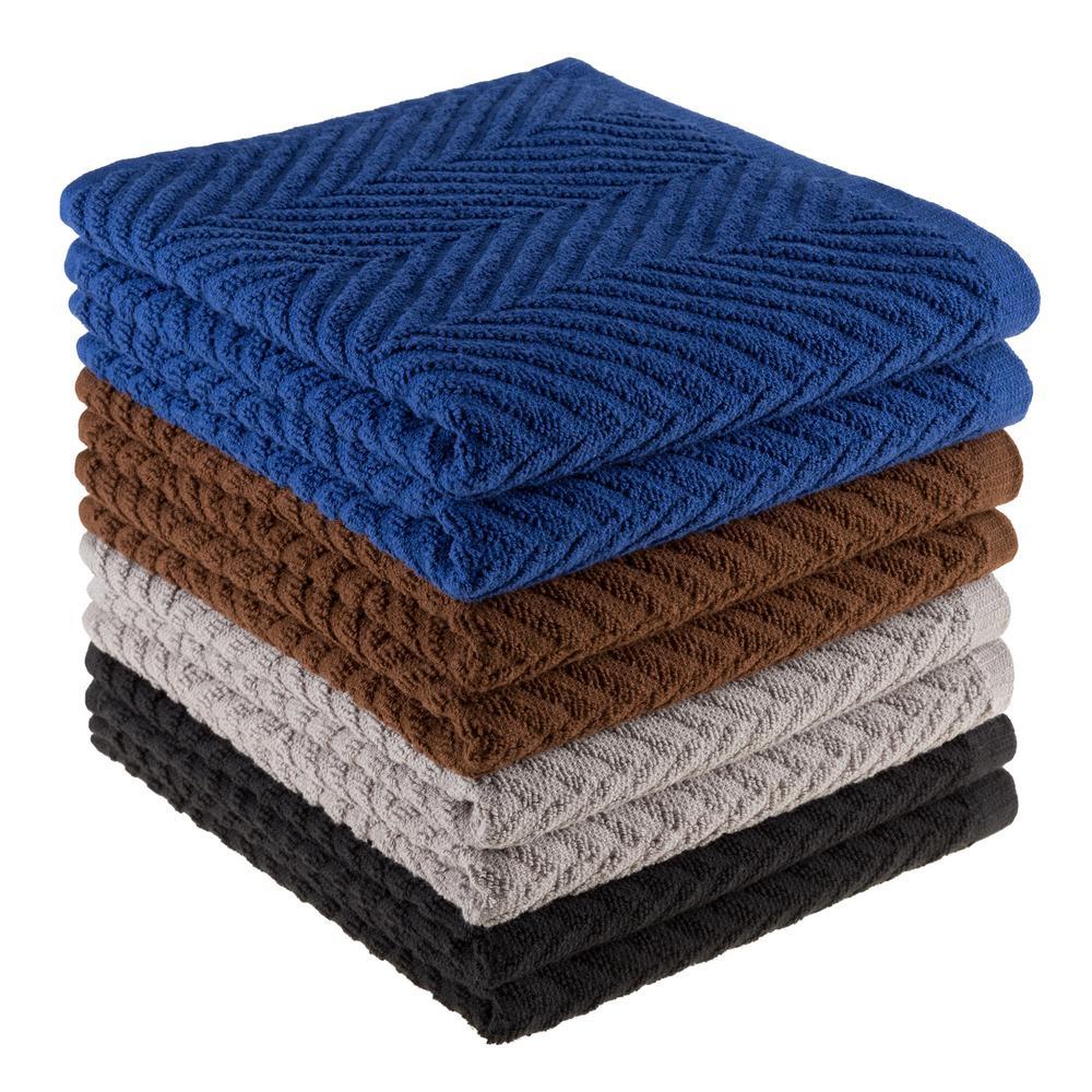 Multi Zig Zag Pattern Cotton Fabric Dishcloths (Set of 8)