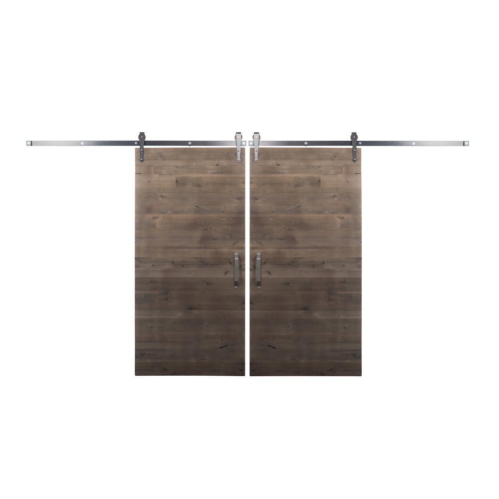 Bi-Parting 42 in. x 84 in. Rustica Reclaimed Home Depot Gray Barn Doors with Raw Steel Arrow Sliding Door Hardware Kit