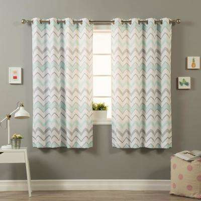 63 in. L Polyester Nordic Wave Curtains in Mint and Grey (2-Pack)