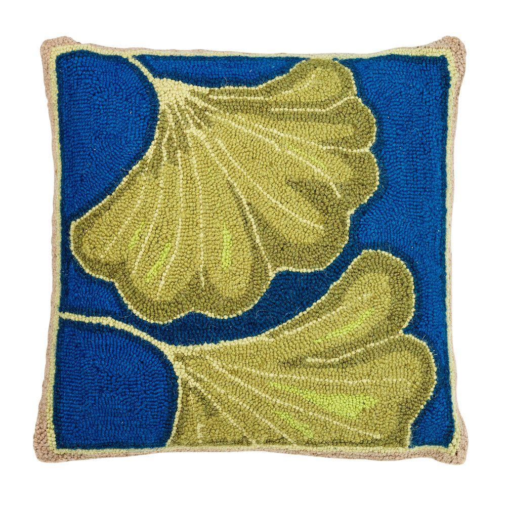 Home Decorators Collection 18 in. W Ginkgo Teal and Blue Hook Pillow