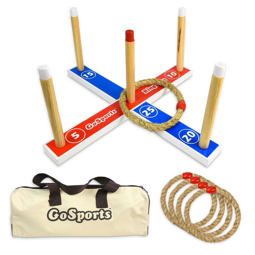GoFloats Premium Wooden Ring Toss Game with Carrying Case, Great for All Ages