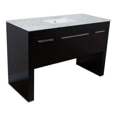 Moxee 55.3 in. W x 23.6 in. D Single Vanity in Black with Marble Vanity Top in White with White Basin