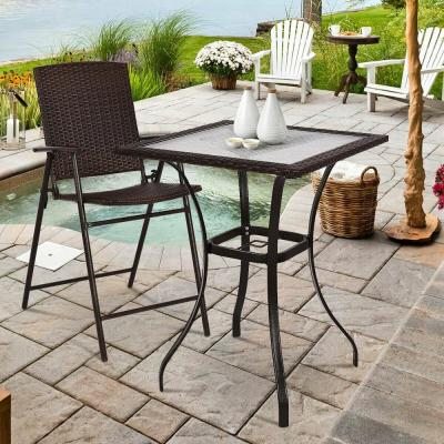 Rattan Wicker Outdoor Patio Coffee Table Bar Square Table Glass Top Yard Garden Furniture