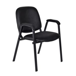Ace Black Vinyl Stack Chair (Set of 4)