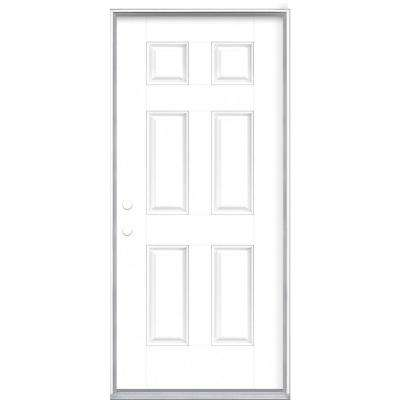 36 in. x 80 in. 6-Panel Ultra Pure White Right-Hand Inswing Painted Smooth Fiberglass Prehung Front Exterior Door
