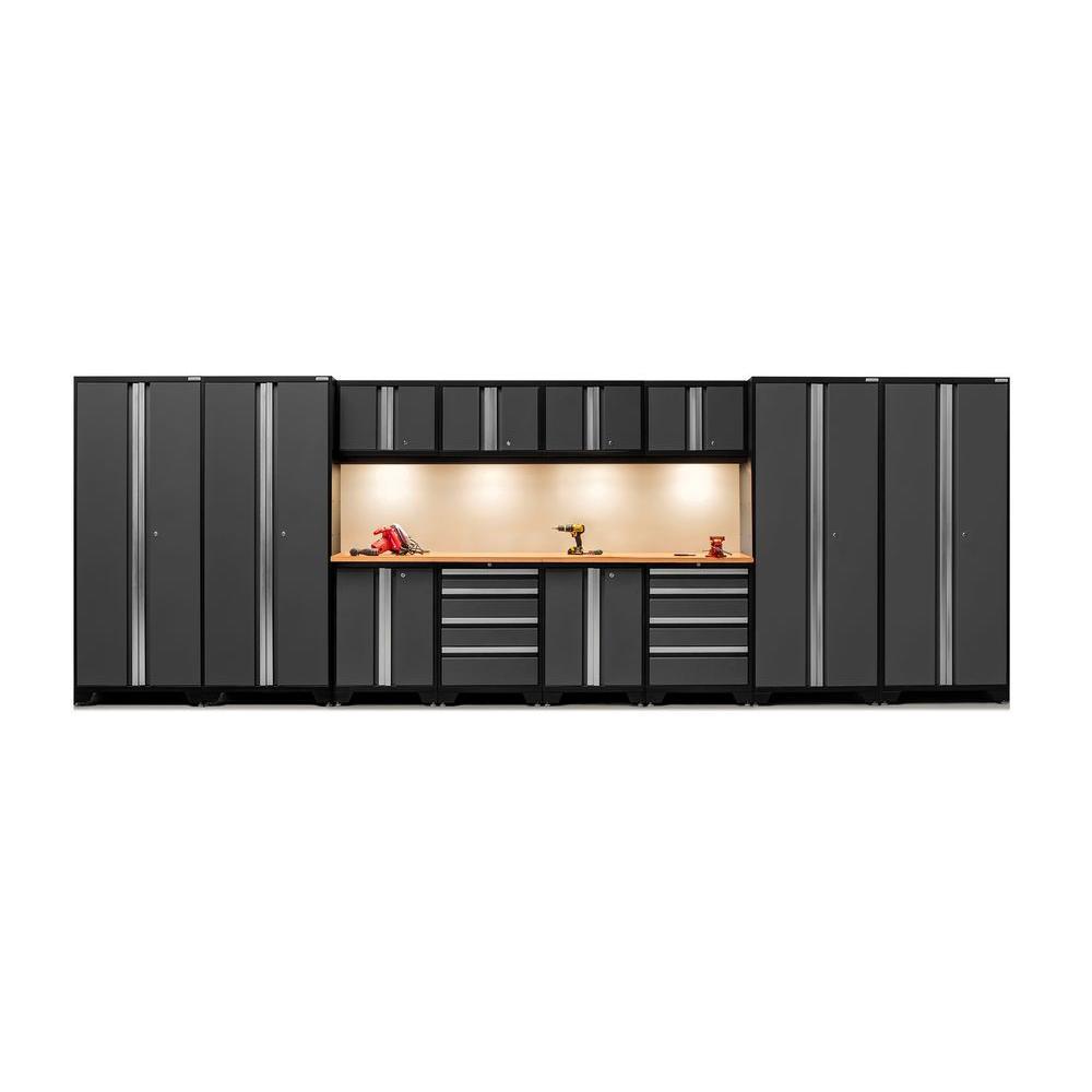 Bold 3 Series 77 in. H x 216 in. W x 18 in. D 24-Gauge Welded Steel Bamboo Worktop Cabinet Set in Gray (14-Piece)